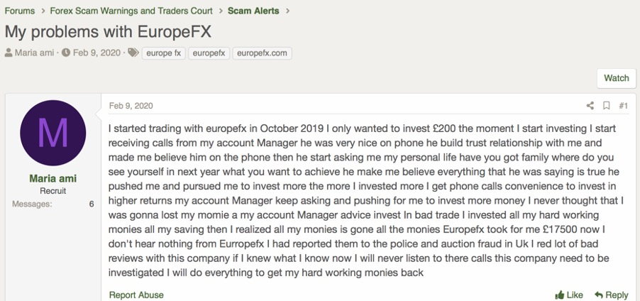 europefx review | forex peace army thread 2 - screen capture from forex peace army - europefx review section