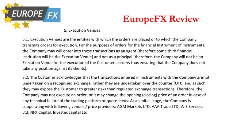 europefx review | execution venues - screen capture from europefx order mikov & attorneys