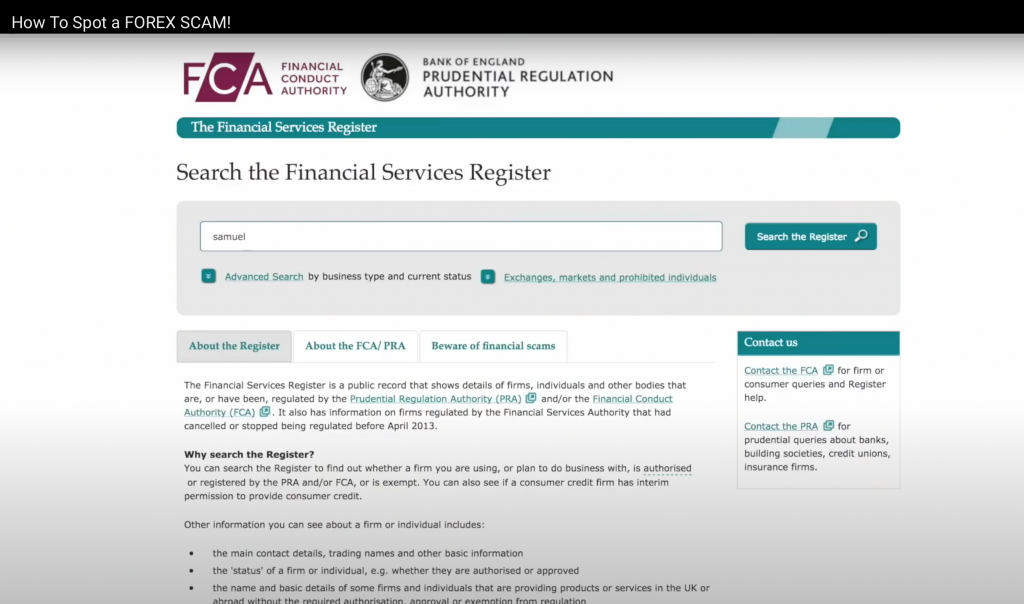 forex scam? how to spot them. screenshot from FCA Financial Conduct Authority Services Register, July 2020