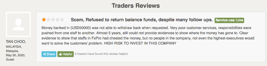 fxpro review | trader review 1 - screen capture from the fpa website, fxpro review section | financial fraud lawyer | mikov & attorney | recover your lost funds