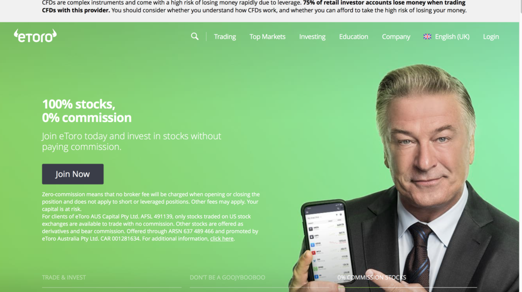etoro review | home page– screen capture from etoro homepage website, Financial Fraud Lawyer Mikov & Attorneys