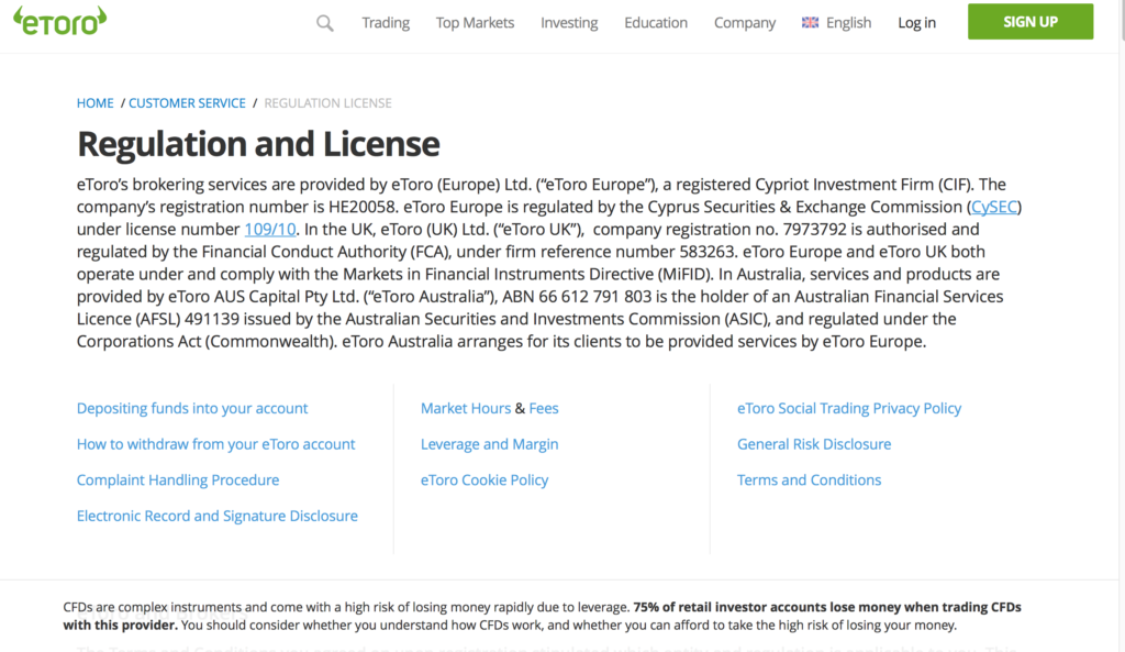 etoro review | home page– regulation and license screen capture from etoro homepage website,