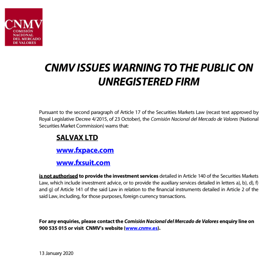 fxpace review | spanish financial regulator cnmv issues warning on unregistered firms - fxpace salvax ltd | financial fraud lawyer | mikov & attorneys |